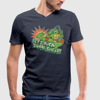 TMNT Turtles Raphael Let's Kick Some Shell - Men's Organic V-Neck T-Shirt by Stanley & Stella