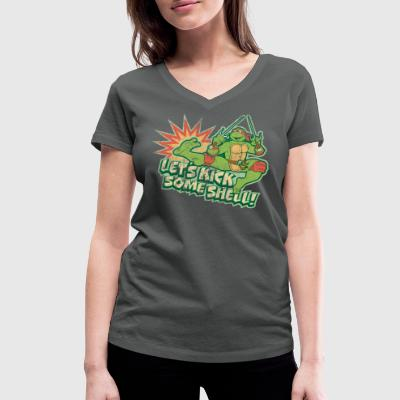 TMNT Turtles Raphael Let's Kick Some Shell - Women's Organic V-Neck T-Shirt by Stanley & Stella