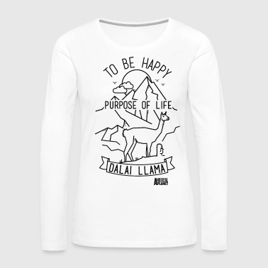 Animal Planet Dalai Llama Be Happy Quote - Premium langermet T-skjorte for kvinner