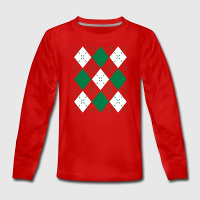 Ugly Argyle lozenges pattern Christmas sweater Long Sleeve Shirts - Teenagers' Premium Longsleeve Shirt