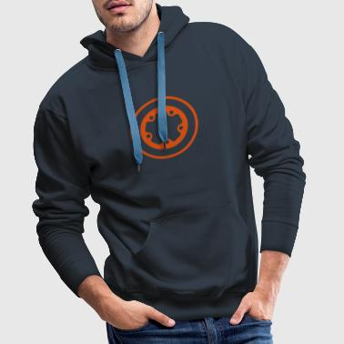 widefive / navy hood *with flock print* - Men's Premium Hoodie