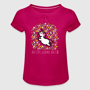SmileyWorld Unicorn Haters Gonna Hate - Girl's T-shirt with Ruffles