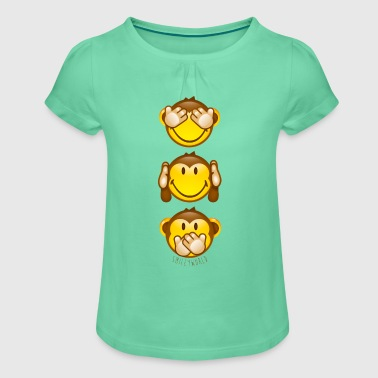 SmileyWorld Three Mystic Apes - Girl's T-shirt with Ruffles