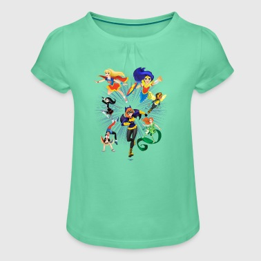 DC Super Hero Girls Super-Héroïnes Attaque - T-shirt à fronces au col Fille