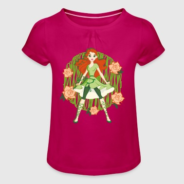 DC Super Hero Girls Poison Ivy Roses - T-shirt à fronces au col Fille