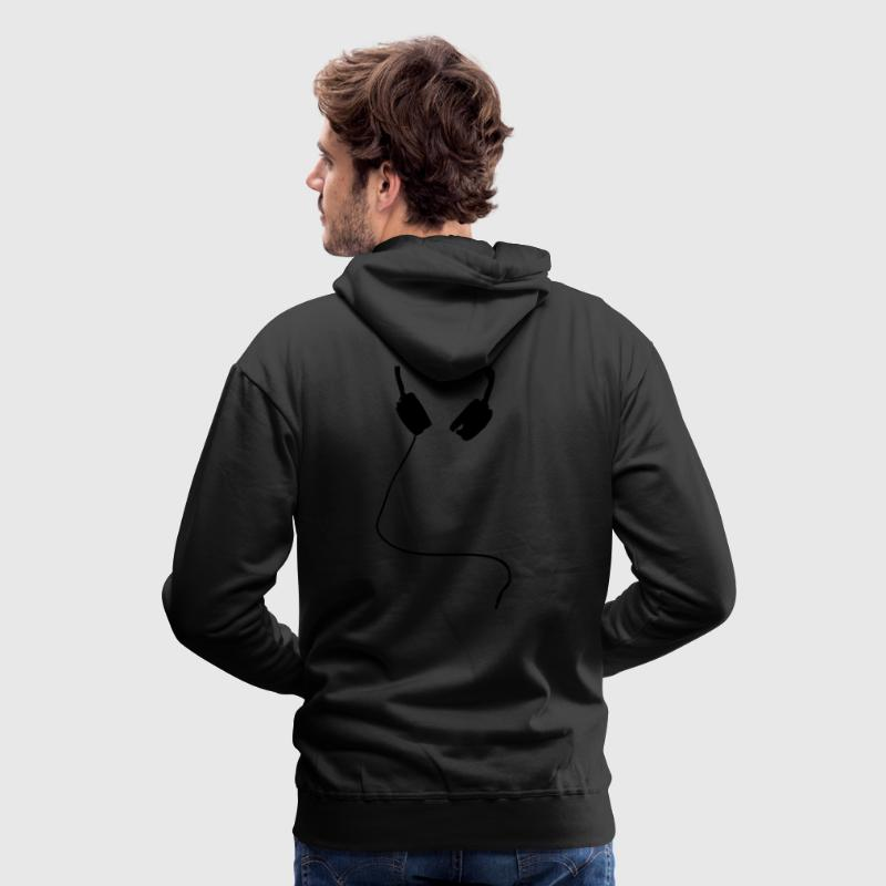 Black HEADPHONES ICON Jumpers - Men's Premium Hoodie