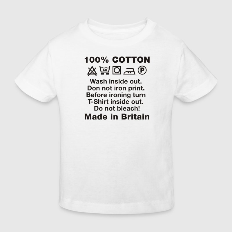 White Wash tag, 100% Cotton, Made in Britain Kid's Shirts  - Kids' Organic T-shirt