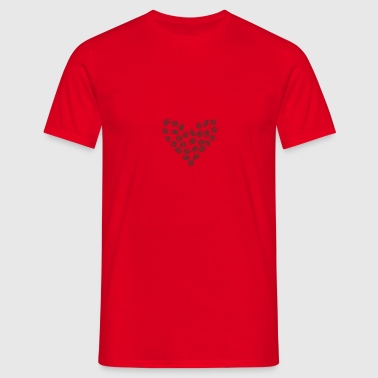 Red Coffee Bean Heart Bags  - Men's T-Shirt