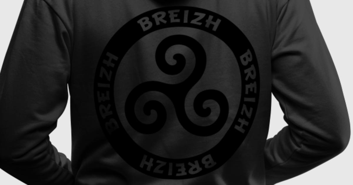 Sweat shirt capuche breizh triskell spreadshirt for Two color shirt design
