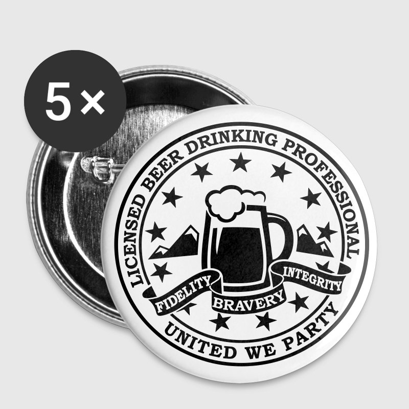 Funny i love beer drinking party and hell raising license badge emblem t-shirts for clubbing stag do partying st patrick Buttons - Buttons large 56 mm