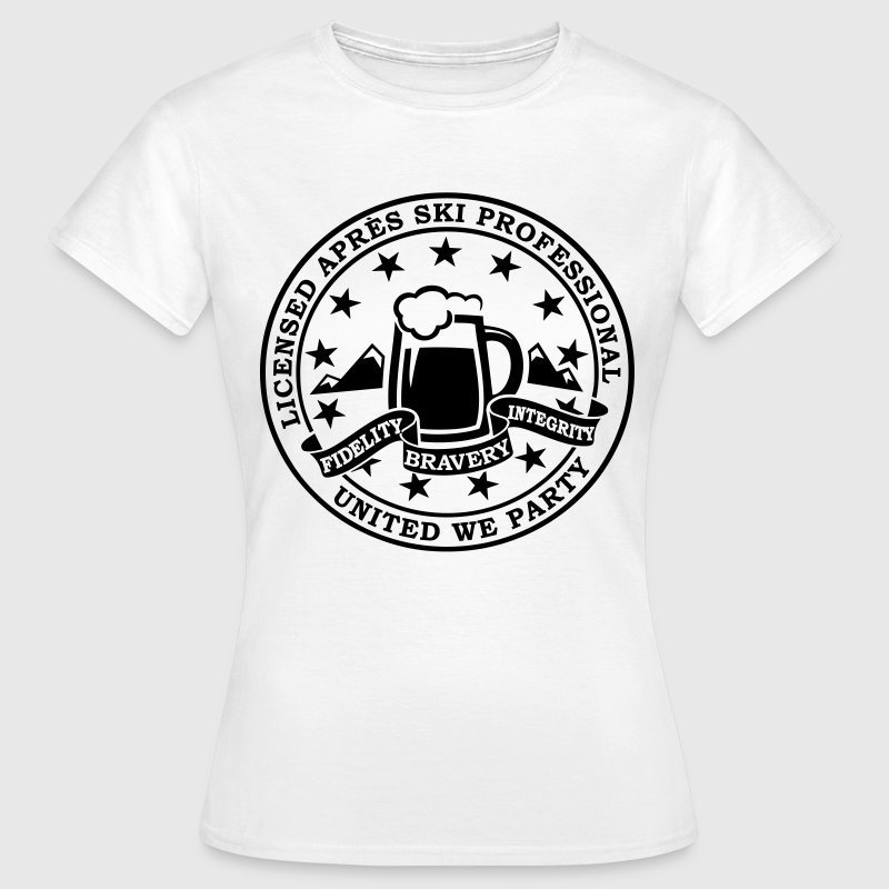 Comic i love winter sports Après-ski beer skiing and party license badge slogan for geek clubbing stag do students partying  T-Shirts - Women's T-Shirt