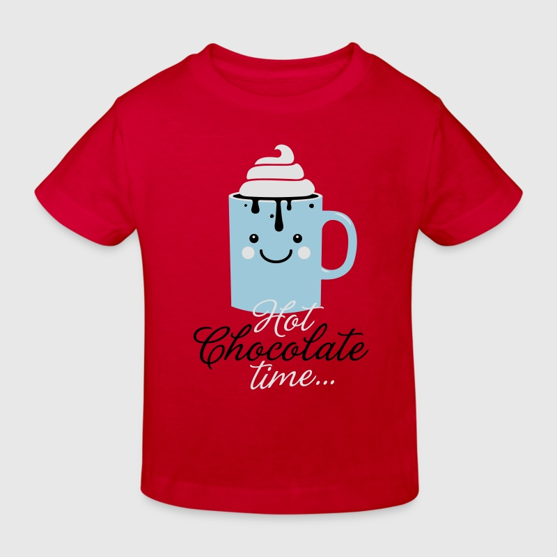Funny cute mug with i love hot chocolate with sweet cream time slogan in cold snow freezing fall winter t-shirts for geek chic, trendy girls, gift friend christmas mothersday valentine's day Kids' Shirts - Kids' Organic T-shirt