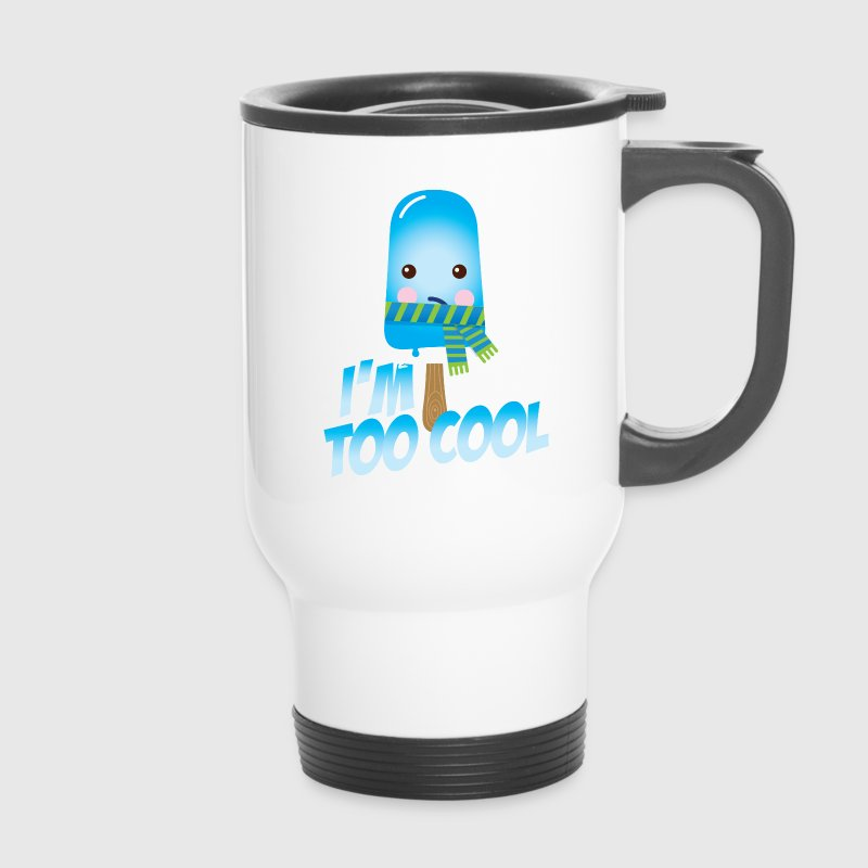 Funny too cool slogan cute vintage ice cream character with hat and scarf for hot sunny summer or freezing cold fall winter snow weather t-shirts for geek kids  Bottles & Mugs - Travel Mug