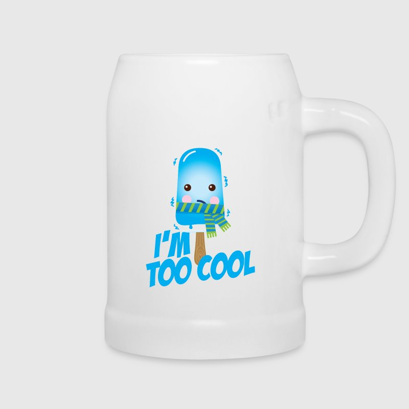 Comic too cool quote ice cream vintage character with scarf for hot sunny summer or freezing cold winter snow weather t-shirts Bottles & Mugs - Beer Mug