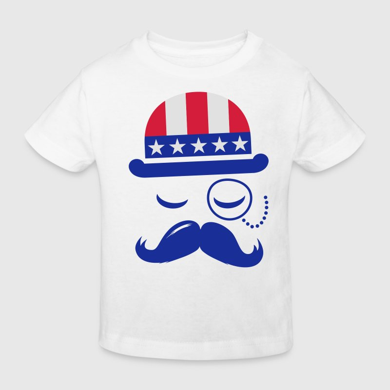 I love heart fashionable American vintage Sir with moustache USA flag hat for sports championship pride & election vote America t-shirts Kids' Shirts - Kids' Organic T-shirt