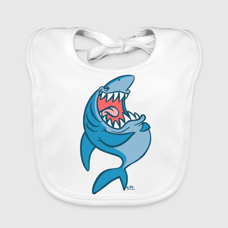 White Big Blue Laughing Cartoon Shark by Cheerful Madness!! online shop Accessories - Baby Organic Bib