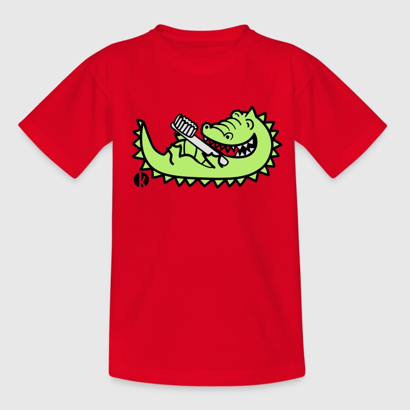 Krokodil mit Zahnbürste - Crocodile with Toothbrush T-Shirts - Kinder T-Shirt
