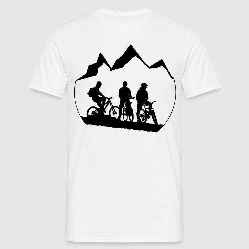 3 mountainbiker berg kreis vektor t shirt spreadshirt. Black Bedroom Furniture Sets. Home Design Ideas