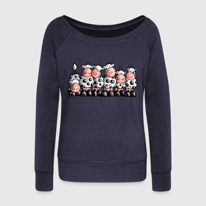 Milk Bar - Cow- vache Sweat-shirts - Pull Femme col bateau de Bella