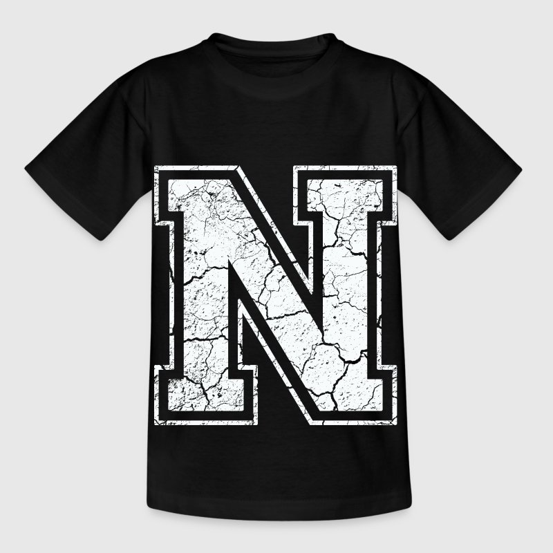 Letter N in white in the used look Shirts - Kids' T-Shirt
