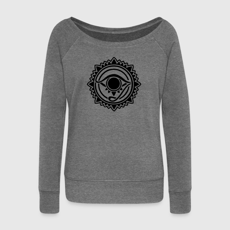Horus eye, Egypt, protection, magic & strength, T-shirts - Women's Boat Neck Long Sleeve Top