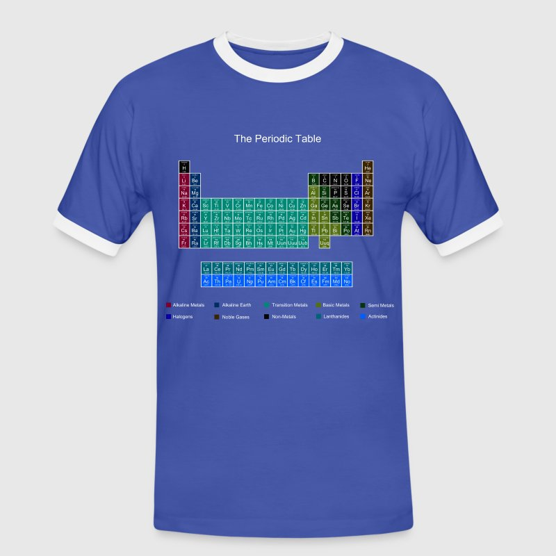 Blue Stylish Periodic Table of Elements T-Shirts - Men's Ringer Shirt