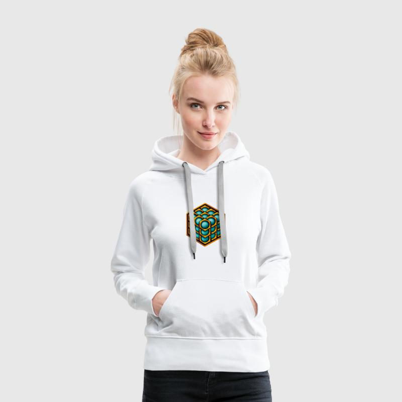 3D Cube - crop circle - Metatrons Cube - Hexagon / Sweat-shirts - Sweat-shirt à capuche Premium pour femmes