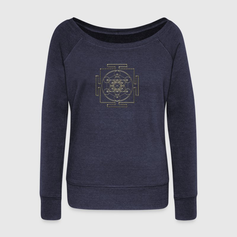 Yantra - Metatron`s Cube - Flower of Life / Hoodie - Women's Boat Neck Long Sleeve Top