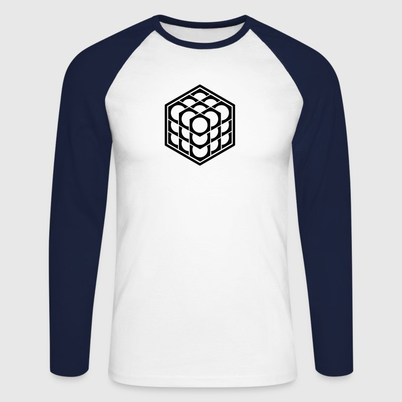 3D Cube - crop circle - Metatrons Cube - Hexagon / Long sleeve shirts - Men's Long Sleeve Baseball T-Shirt