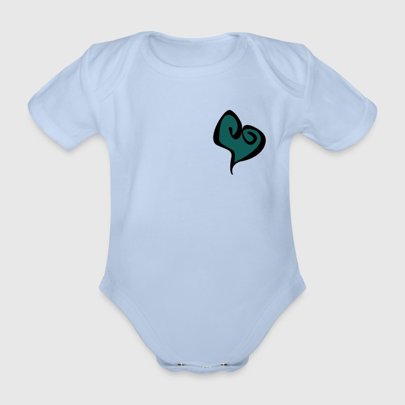 Baby Art Design - Pink Heart  - Organic Short-sleeved Baby Bodysuit