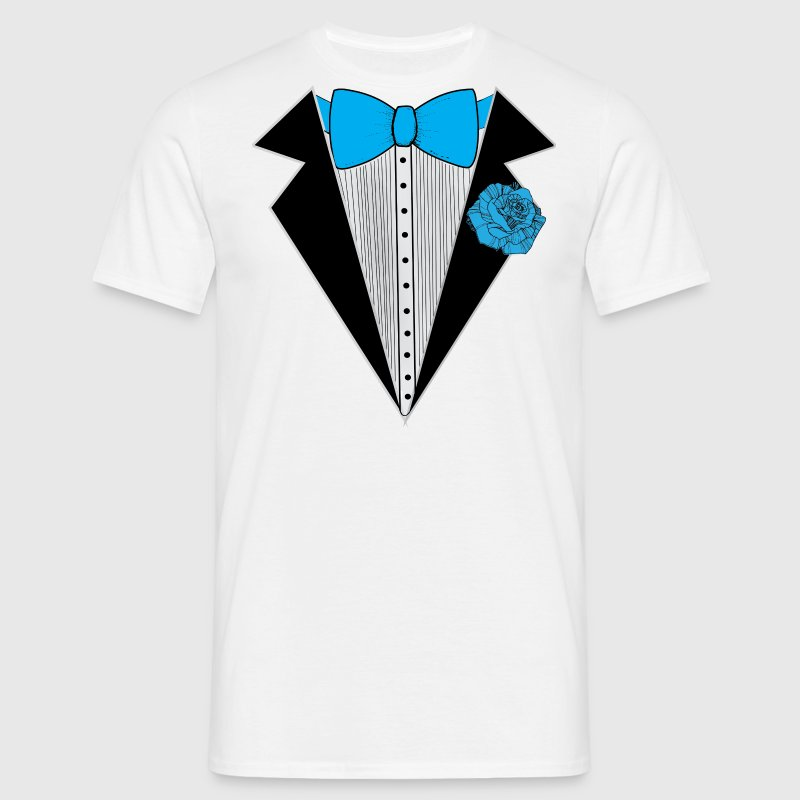 Tuxedo style with Blue Bowtie & Rose T-Shirts - Men's T-Shirt