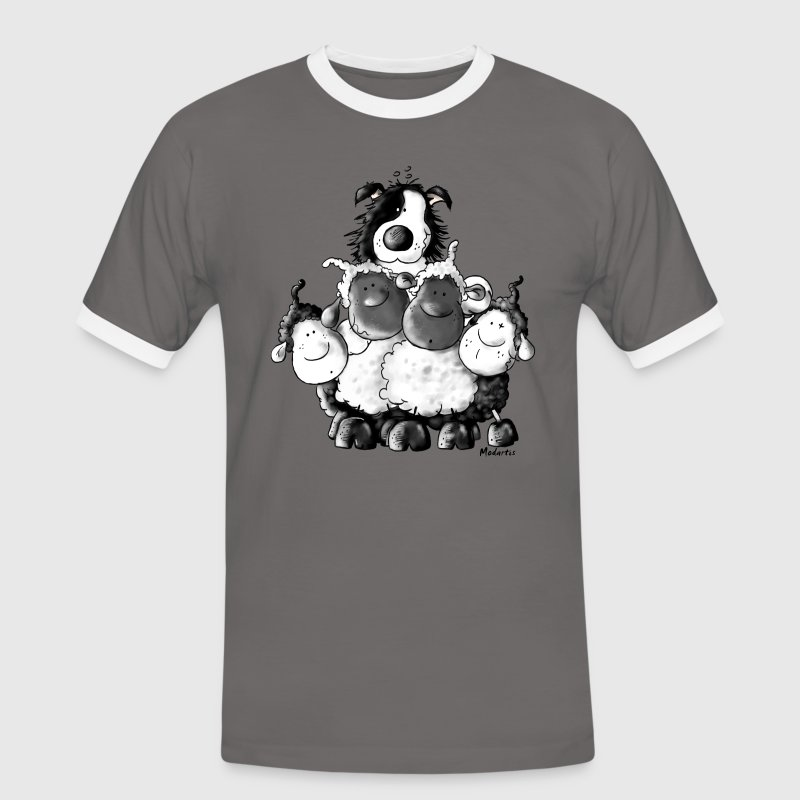 Border Collie and sheep - dog - t-shirt design T-Shirts - Men's Ringer Shirt