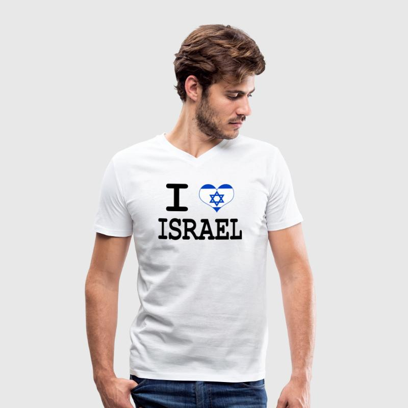i love Israel T-Shirts - Men's Organic V-Neck T-Shirt by Stanley & Stella