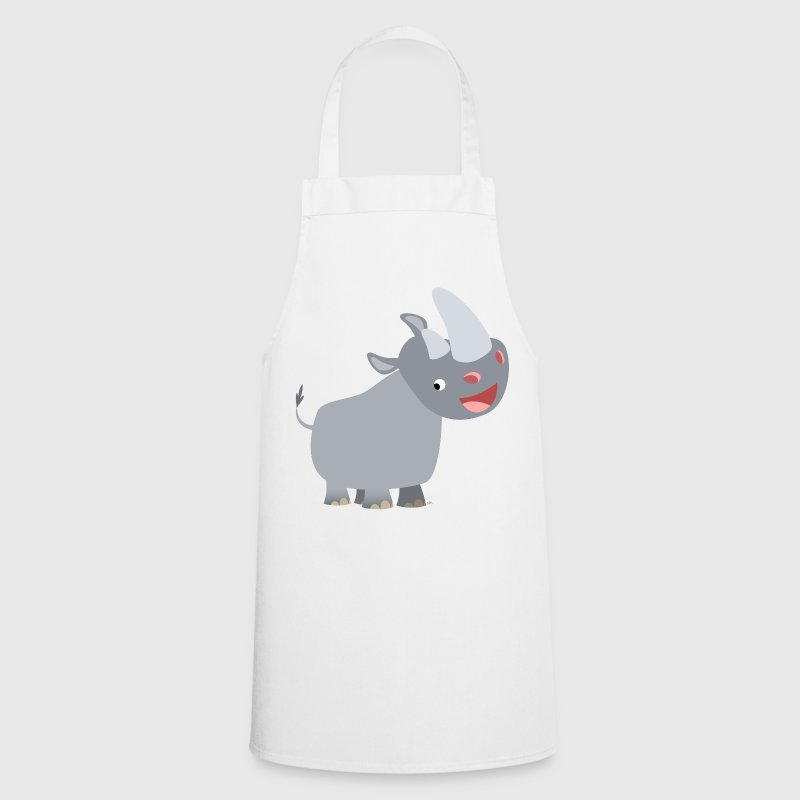 White Cute Happy Cartoon Rhinoceros by Cheerful Madness!!  Aprons - Cooking Apron