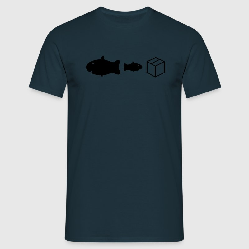 Navy big fish little fish cardboard box Men's Tees - Men's T-Shirt