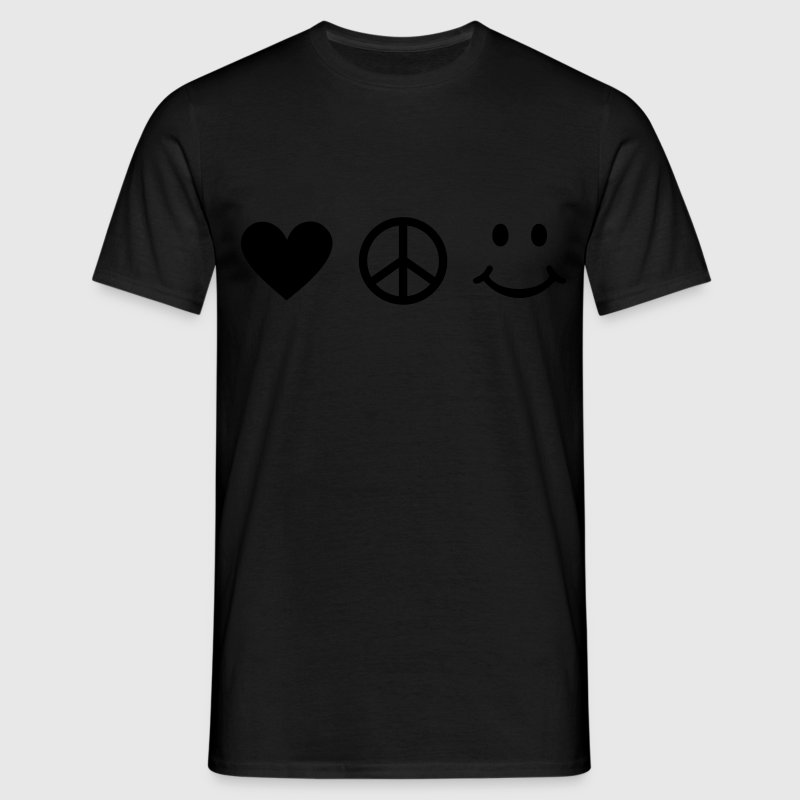 BE HAPPY - Coeur d'amour de signe de paix smiley  Tee shirts - T-shirt Homme