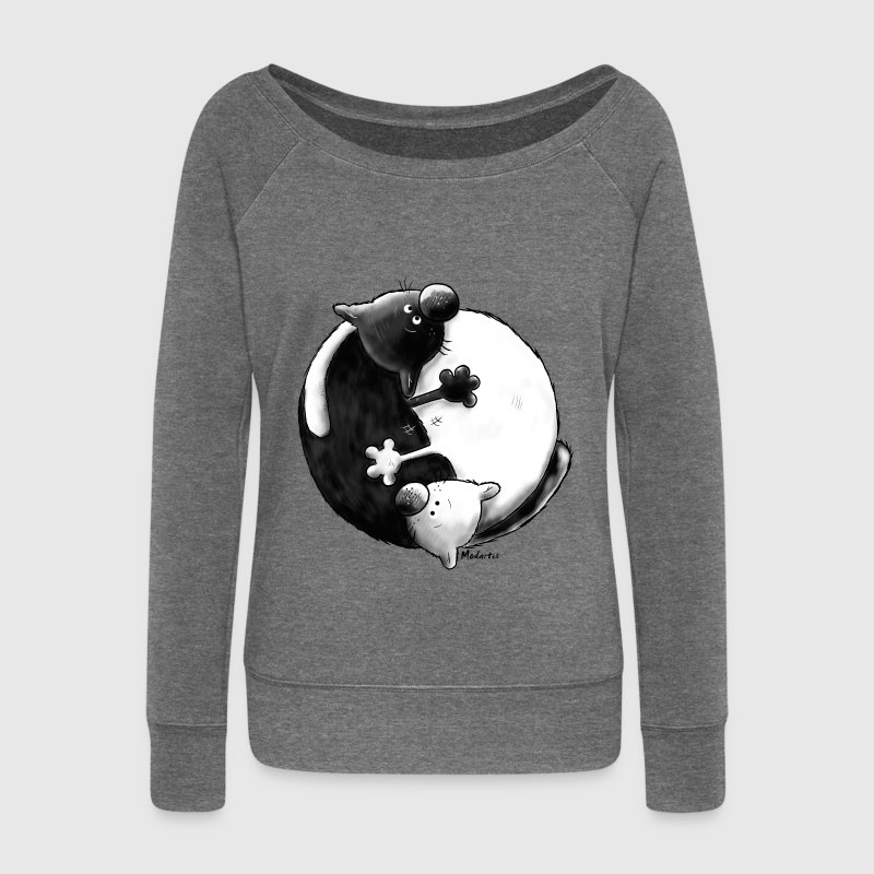 Black and White - Yin Yang – chats Sweat-shirts - Pull Femme col bateau de Bella