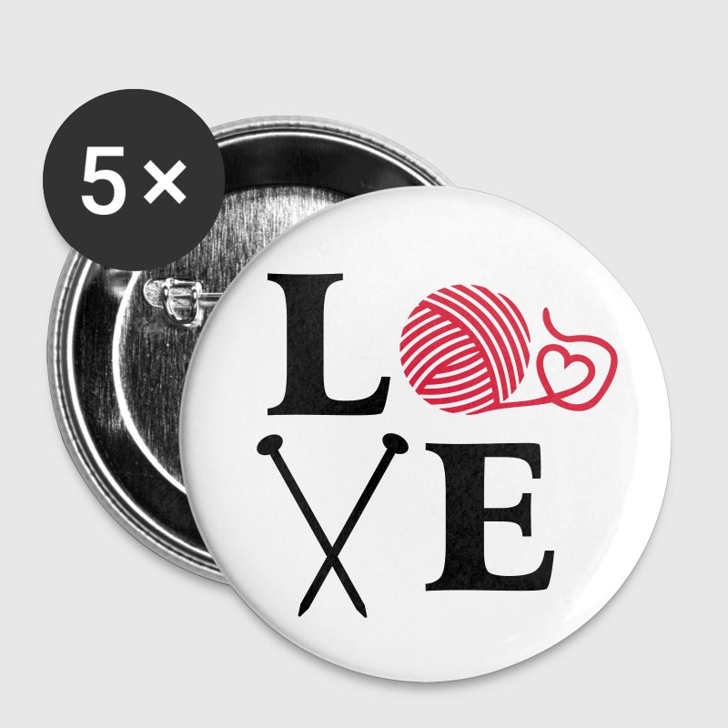 I love Knitting Wolle Stricken Stricknadeln Herz Buttons / Anstecker - Buttons mittel 32 mm