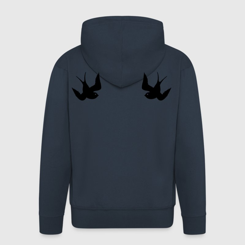 Tattoo Swallows Design Oldschool Birds Freedom Hoodies & Sweatshirts - Men's Premium Hooded Jacket