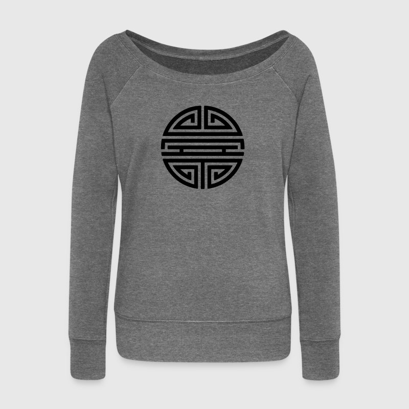 Shou, Chinese, lucky charm, symbol long life / Sweat-shirts - Pull Femme col bateau de Bella
