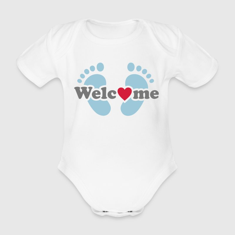 Welcome Me! Baby on board feet pregnancy Shirts - Organic Short-sleeved Baby Bodysuit