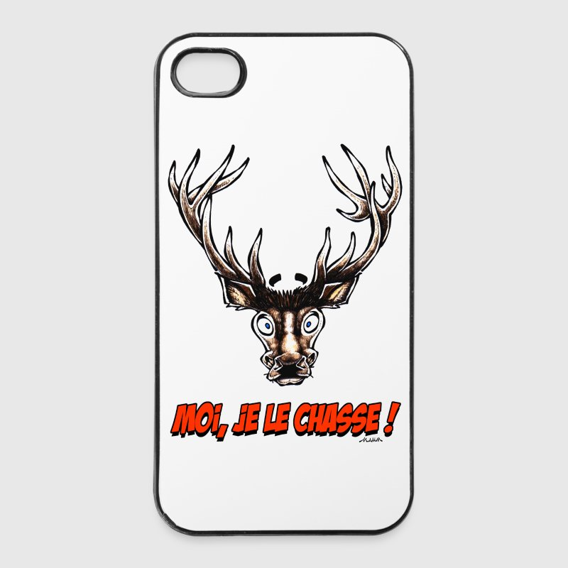 Coque pour iPhone 4/4S CERF Moi, Je Le Chasse ! - Coque rigide iPhone 4/4s