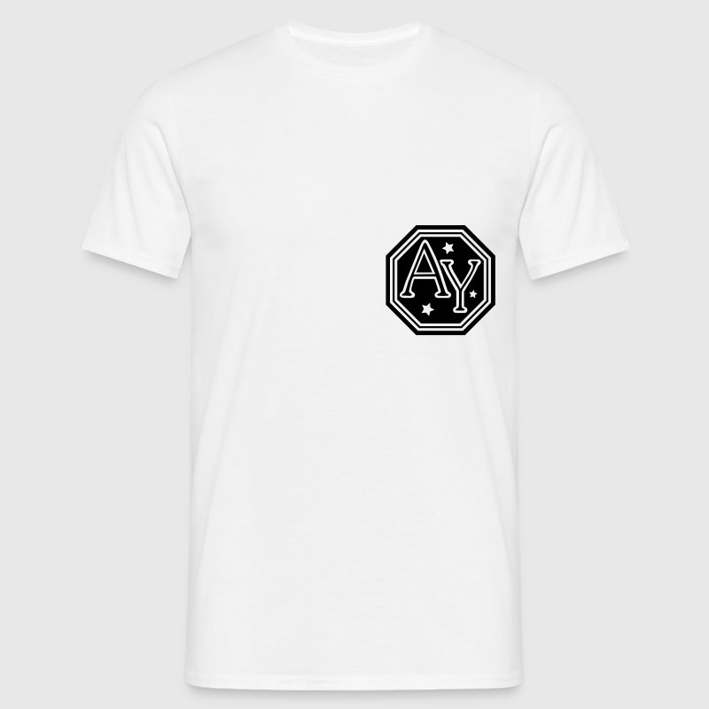 AY  hexagon monogram bold capital initial letters - Men's T-Shirt