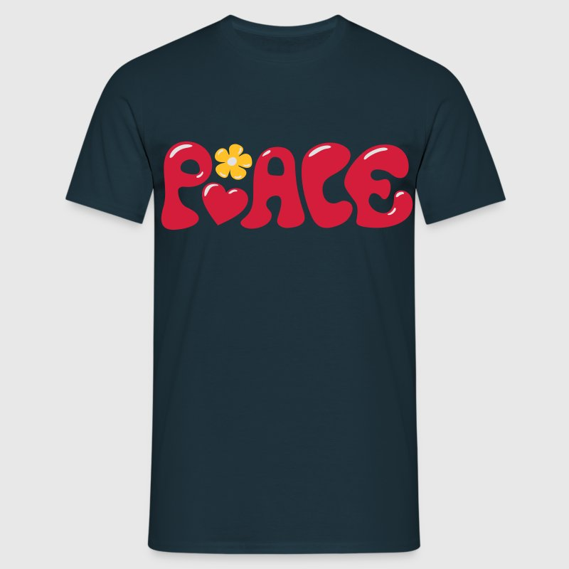 3-D Peace. Kærlighed & Happiness - Heart og Flower T-shirts - Herre-T-shirt