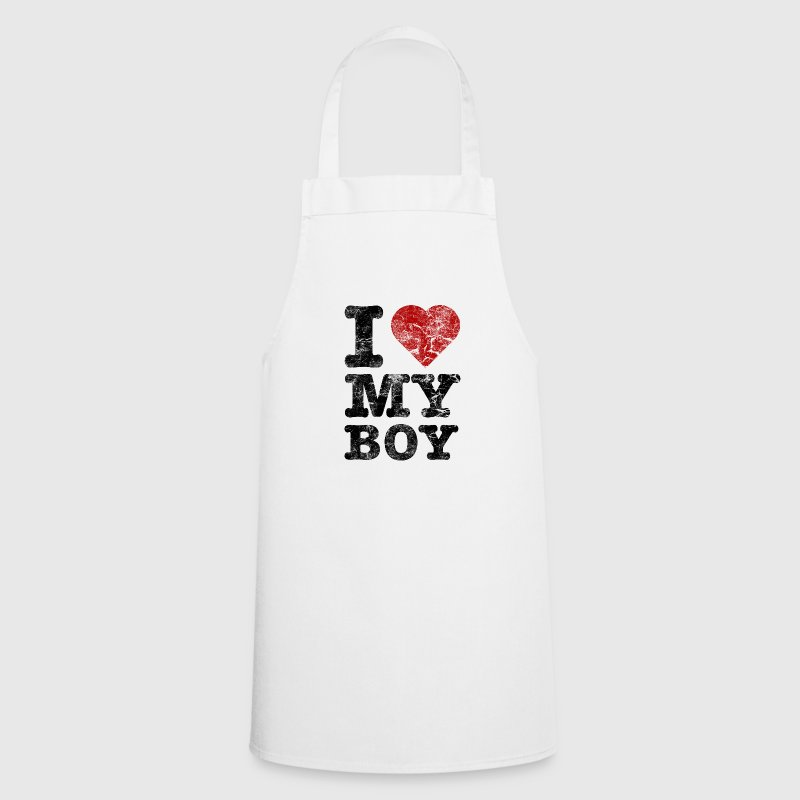 I Love my Boy vintage dark  Aprons - Cooking Apron