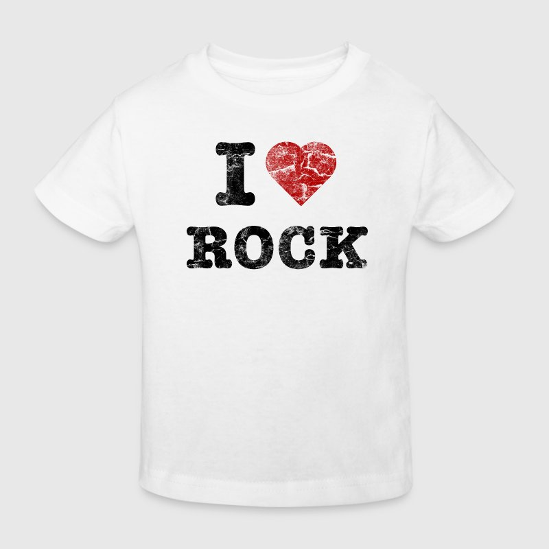 I Love Rock vintage dark Shirts - Kinderen Bio-T-shirt