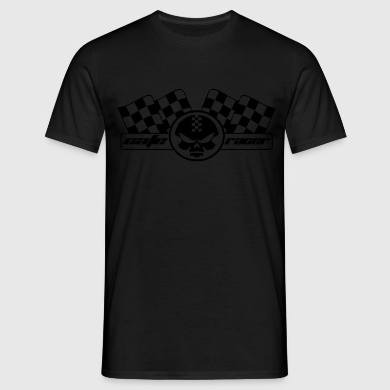 Cafe Racer, Flag, Skull, motorcycle, biker - Men's T-Shirt