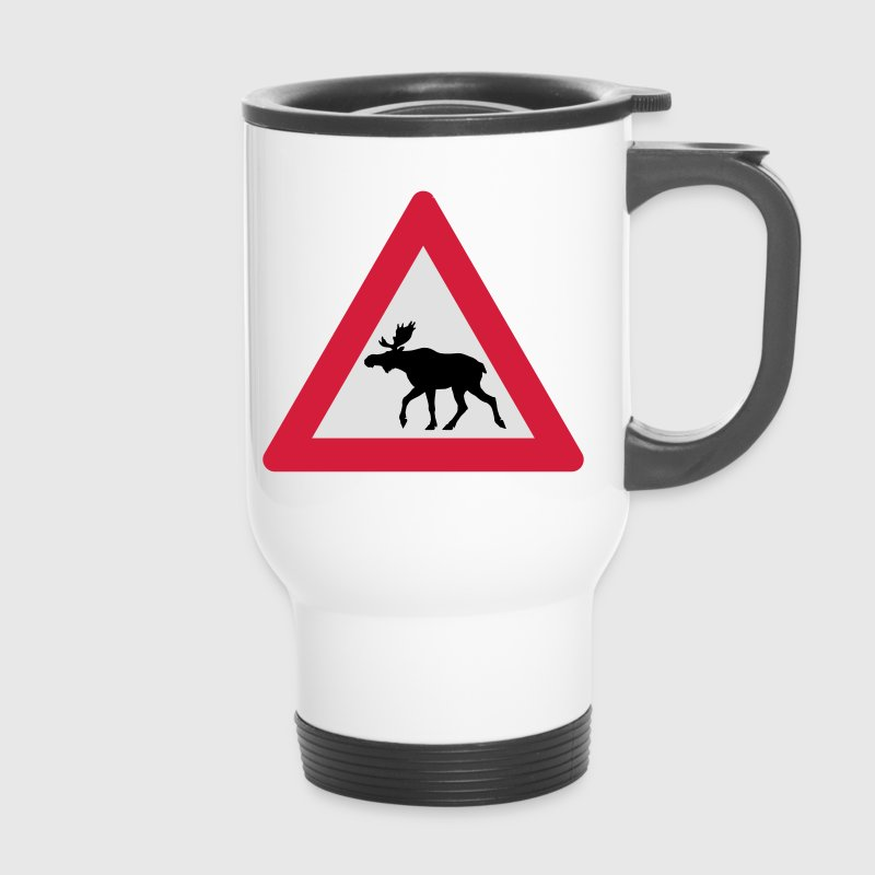 Warning Moose Sign Bottles & Mugs - Travel Mug