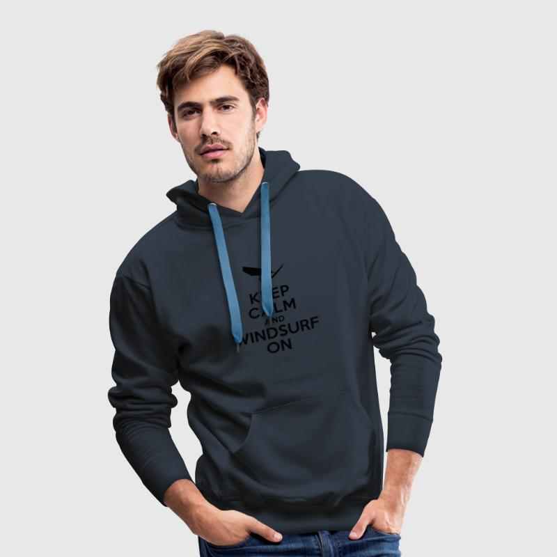 Keep calm and windsurf on Sweat-shirts - Sweat-shirt à capuche Premium pour hommes
