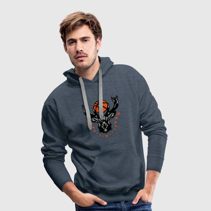 basketball cerf bois logo animal deer 20 Sweat-shirts - Sweat-shirt à capuche Premium pour hommes